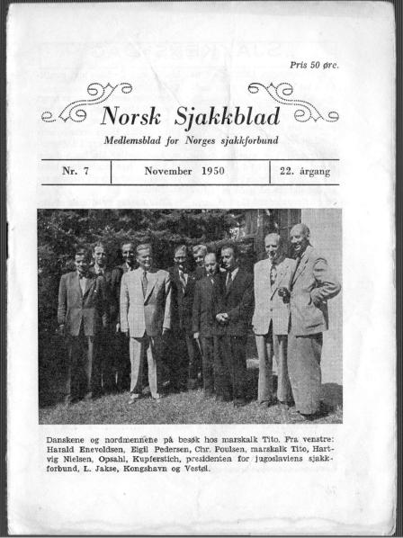 Norsk Sjakkblad forside nr 7 1950