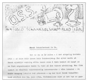 Les om NSFs tilblivelse i OSS schakkselskaps blad nr 4 1934