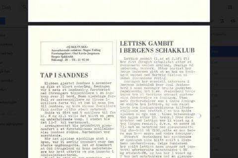 Lettisk gambit i Bergens Schakklubb